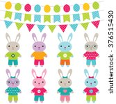 easter bunnies vector set | Shutterstock .eps vector #376515430