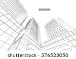 perspective 3d wireframe of... | Shutterstock .eps vector #376523050