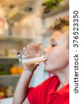 young white boy drinking fresh... | Shutterstock . vector #376523350