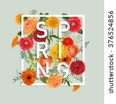 Stock vector floral spring graphic design with colorful flowers for t shirt fashion prints in vector 376524856