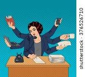 business superwoman pop art... | Shutterstock .eps vector #376526710