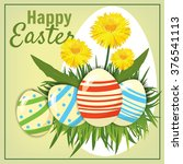 easter eggs in the grass with... | Shutterstock .eps vector #376541113