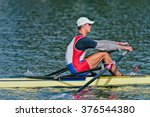 single scull rowing competitor | Shutterstock . vector #376544380