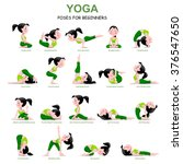 Cartoon Girl In Yoga Poses Wit...