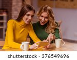 two beautiful young girls in... | Shutterstock . vector #376549696