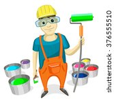 professional painter with paint ... | Shutterstock .eps vector #376555510