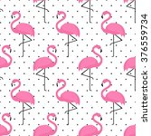 Flamingo Seamless Pattern On...