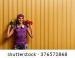 cute teenage girl in a t shirt... | Shutterstock . vector #376572868
