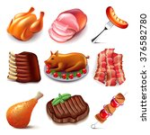 meat food icons detailed photo... | Shutterstock .eps vector #376582780