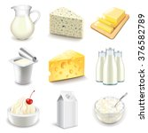 dairy products icons detailed... | Shutterstock .eps vector #376582789
