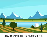 nature landscape  lake view... | Shutterstock .eps vector #376588594