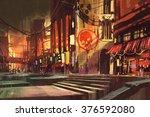 sci fi scene of shopping street ... | Shutterstock . vector #376592080
