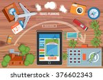 colorful travel planning vector ... | Shutterstock .eps vector #376602343