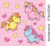 set collection of cute kawaii... | Shutterstock .eps vector #376610260