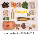 food rich in omega 3 fatty acid | Shutterstock . vector #376614814