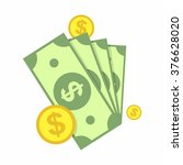 cash  green dollars and coin... | Shutterstock .eps vector #376628020