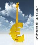 euro bass guitar under cloudy... | Shutterstock . vector #37662874