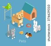 Pets Set Icon Isometric 3d...