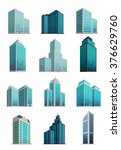 Set Icons Skyscrapers Building...