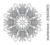 circular pattern drawn flowers... | Shutterstock .eps vector #376633873