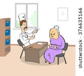 old lady visiting doctor... | Shutterstock .eps vector #376635166
