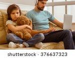a sad little boy looking in... | Shutterstock . vector #376637323