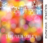 chag purim greeting card with... | Shutterstock .eps vector #376637656