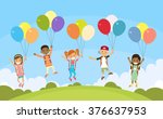 children group fly on colorful... | Shutterstock .eps vector #376637953