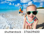 little girl and her family... | Shutterstock . vector #376639600