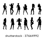 sexy silhouettes black white | Shutterstock . vector #37664992