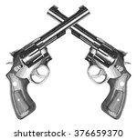 crossed pistols engraved style... | Shutterstock . vector #376659370