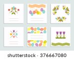 set of creative easter pastel...   Shutterstock .eps vector #376667080