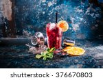 Stock photo alcoholic cocktail with lime and mint garnish 376670803