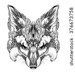 fox head tattoo. psychedelic  ... | Shutterstock .eps vector #376673758