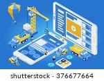 flat 3d isometric mobile design ...   Shutterstock .eps vector #376677664