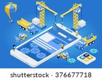 flat 3d isometric mobile design ... | Shutterstock .eps vector #376677718