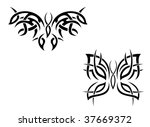 isolated butterfly tattoos in... | Shutterstock . vector #37669372