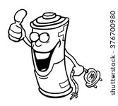 black and white cartoon battery ... | Shutterstock .eps vector #376700980