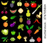 pixel art fruit and vegetables... | Shutterstock .eps vector #376705804