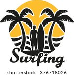 surfing emblem   sunset and... | Shutterstock .eps vector #376718026