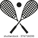 squash rackets with ball | Shutterstock .eps vector #376718200