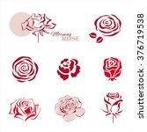 rose symbols design set. vector ...   Shutterstock .eps vector #376719538