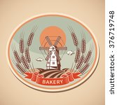 bakery label with old mill and... | Shutterstock .eps vector #376719748