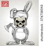 rabbit skull or horror clown... | Shutterstock .eps vector #376738543