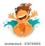 happy smile kid child boy in... | Shutterstock .eps vector #376754053