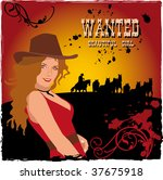 western poster with a girl | Shutterstock .eps vector #37675918