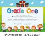 diploma template with teacher... | Shutterstock .eps vector #376761634