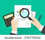 paper sheet  hands  magnifier ... | Shutterstock .eps vector #376770310