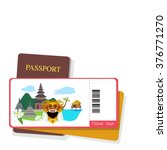 passport and tourist ticket... | Shutterstock .eps vector #376771270