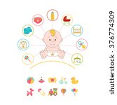 newborn doodle elements set.... | Shutterstock .eps vector #376774309
